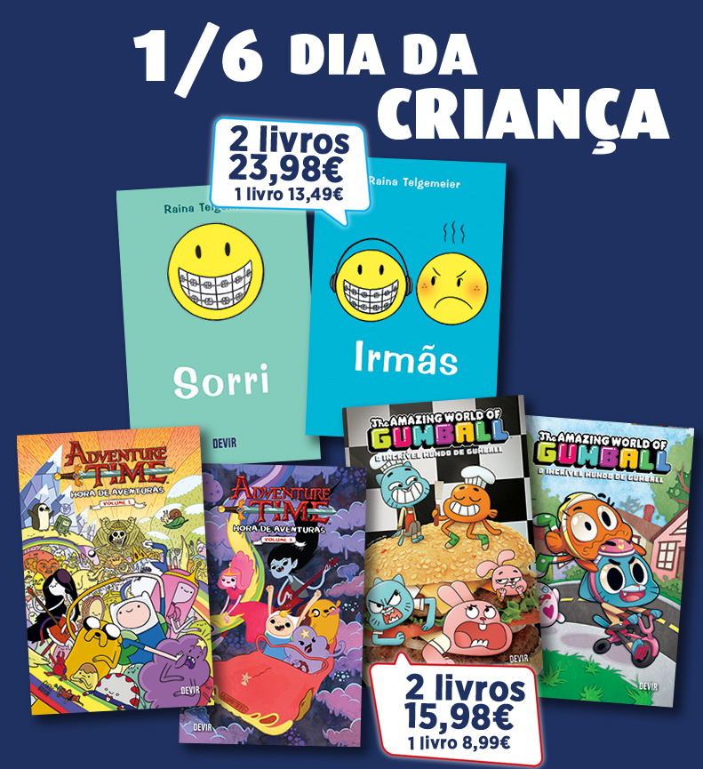 """Poster promocional """"1/6 Dia da Criança, 1 livro 8.99€, 2 livros 15.98€"""""""